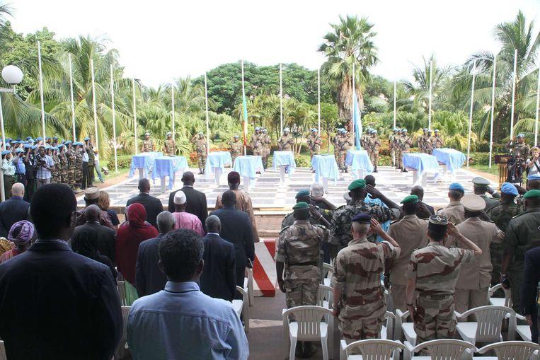Negen VN soldaten, allen van Nigeriaanse afkomst, kwam op drie oktober in Mali om nadat gewapende mannen op motoren hen aanvielen. Het land heeft de VN gevraagd om een speciale interventiemacht voor het noorden van het land. Beeld afp