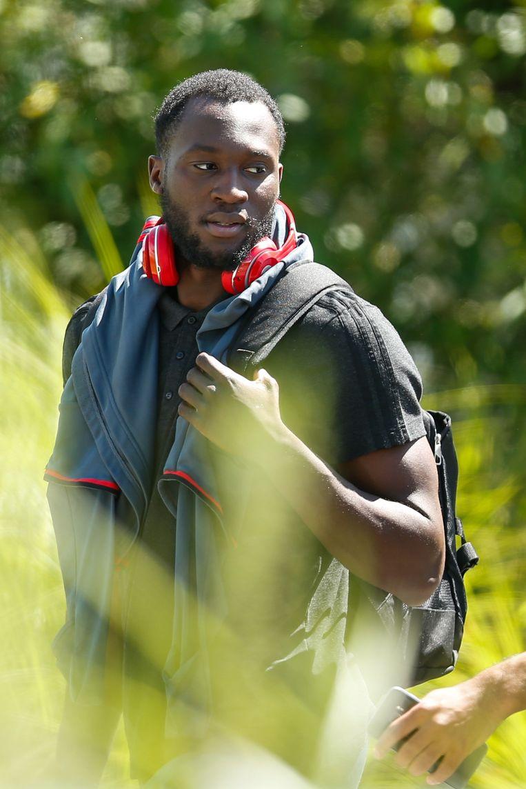 Romelu Lukaku voor een training van het Belgische team. Beeld null