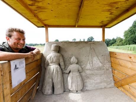 Zandsculpturen in Kuinderbos vertellen historie Noordoostpolder