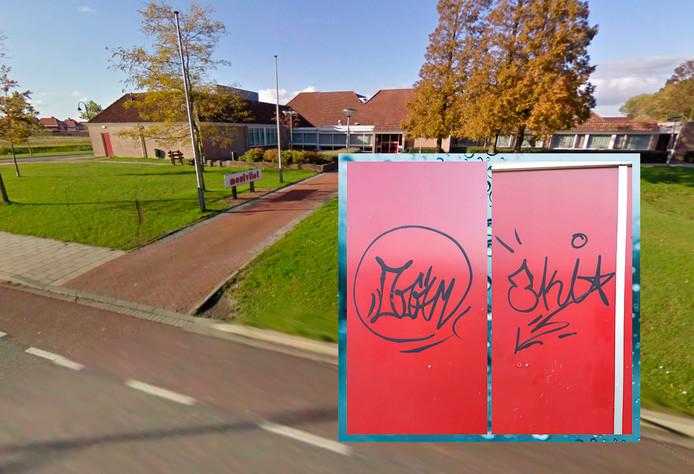 Gemeenschapscentrum Meulvliet in Tholen. Inzet: graffiti op de deuren.