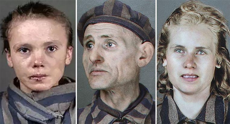 De Braziliaanse artieste Marina Amaral kleurde oude zwart-witfoto's van Auschwitz-slachtoffers in en gaf hen zo een nieuw leven.