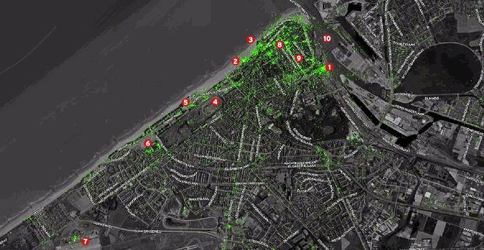 Elk groen puntje is een tweet. Hoe feller groen de kaart oplicht, hoe meer tweets er verstuurd zijn vanop die plaats. Voor de volledige twitterkaart, surf naar www.hln.be/twitterkaart.