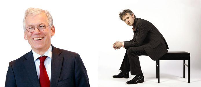Links ceo van Philips Frans van Houten (foto Reuters), rechts pianist Ivo Janssen (foto Gert Jan van Rooij)