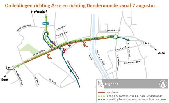 Omleidingen richting Asse en Dendermonde.