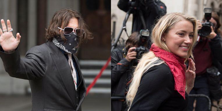 Johnny Depp en Amber Heard bij de aanvang van de zesde procesdag.