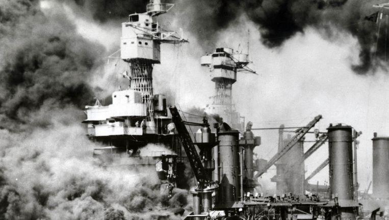 De aanval op Pearl Harbor in 1941. Beeld afp