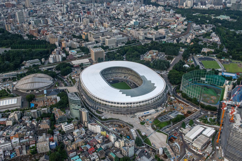 Het nieuwe olympisch stadion van Tokio, gefotografeerd op 24 juli  2019.