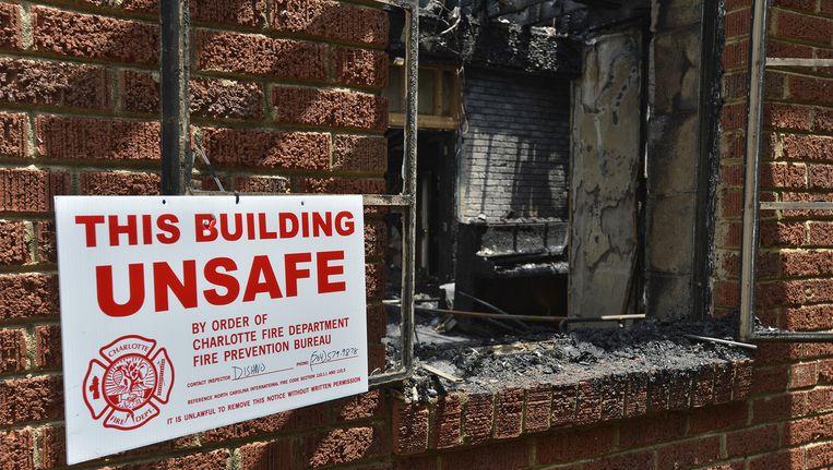 Een uitgebrande kerk in Charlotte (North Carolina).