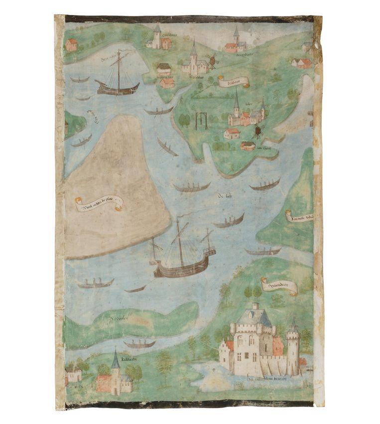 Het kasteel staat onder meer op een Scheldekaart van Rupelmonde tot de Noordzee uit 1505 .