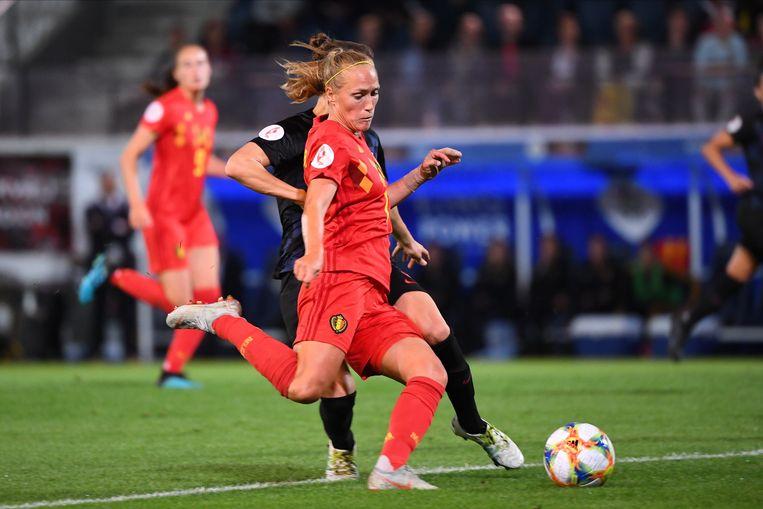 Janice Cayman in het shirt van de Belgische nationale ploeg