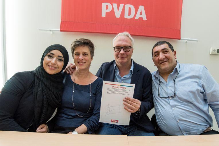 Khadija Chennouf, Mie Branders, Peter Mertens en Mohamed Chebaa
