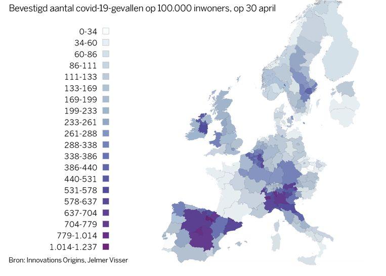 Bevestigd aantal covid-19-gevallen op 100.000 inwoners, op 30 april Beeld Innovations Origins/Jelmer Visser