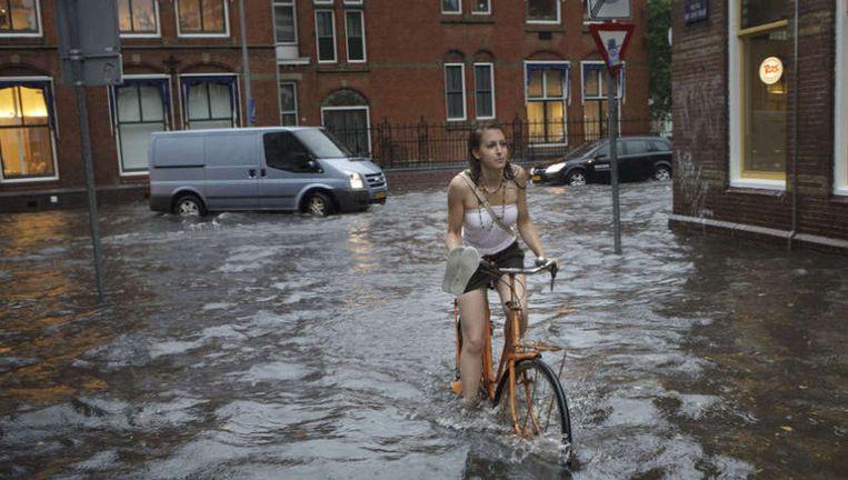 Wateroverlast in Groningen, vorige maand.