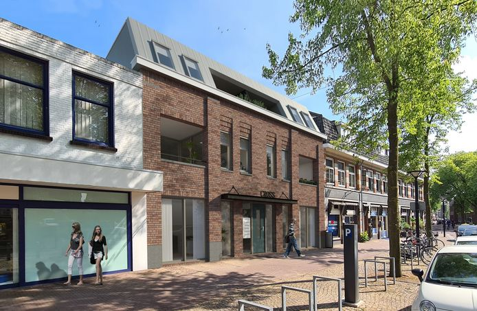 Het toekomstige wooncomplex Cross aan de Kruisstraat, schuin tegenover de Groene Engel. Er komen hier zes betaalbare huurappartementen aan de voorzijde en zeven aan de kant van de Nieuwstraat.