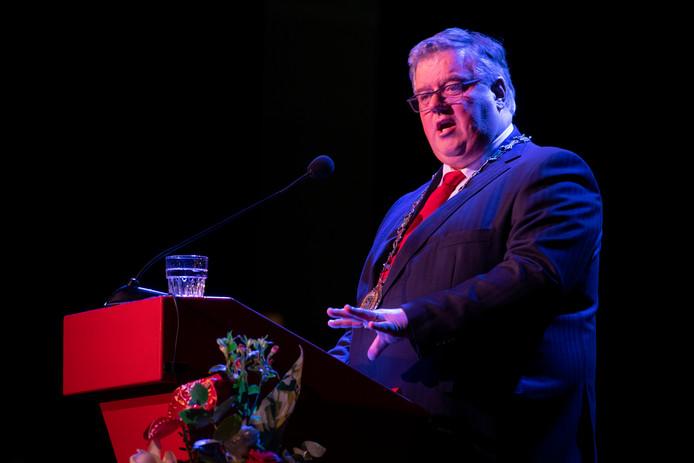 Hubert Bruls tijdens de nieuwjaarsreceptie van de gemeente Nijmegen in Concertgebouw De Vereeniging.