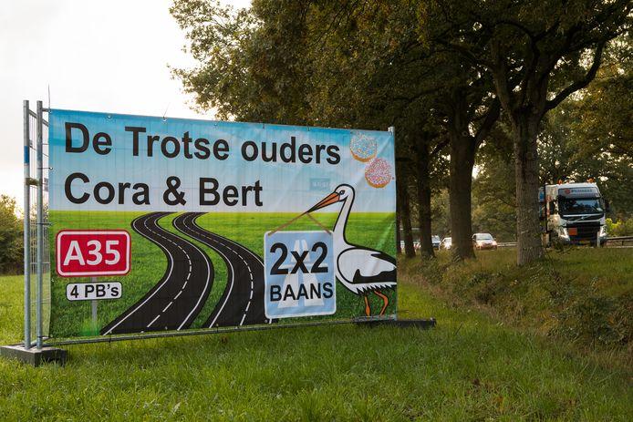 Raalte N35 kruispunt Bosch blijde verwachting bord 2x2 rijbanen