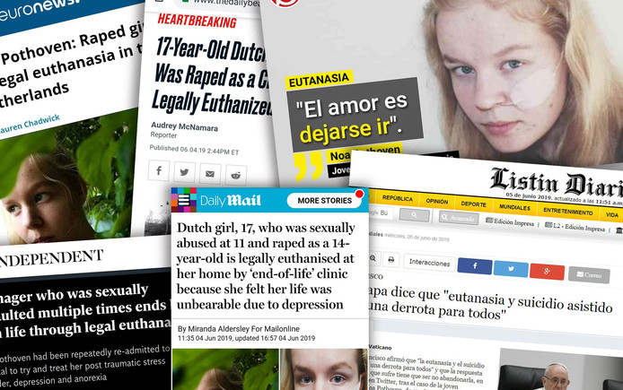 Het verhaal van Noa Pothoven overheerst na haar overlijden in verschillende buitenlandse media.