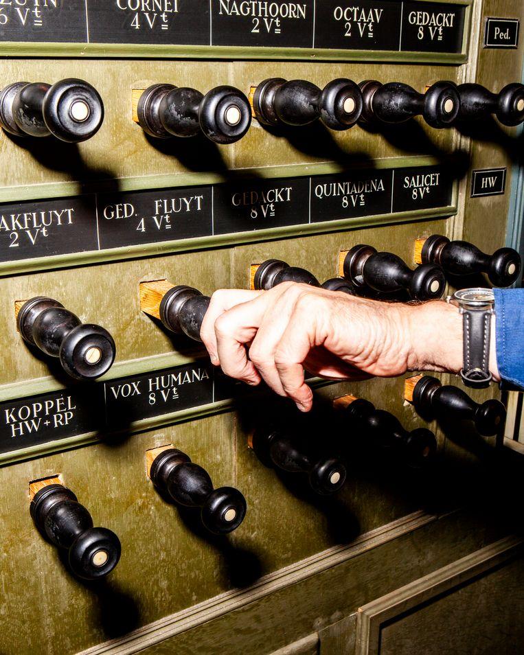 Registers van het orgel in de Martinikerk in Groningen. Beeld Hilde Harshagen