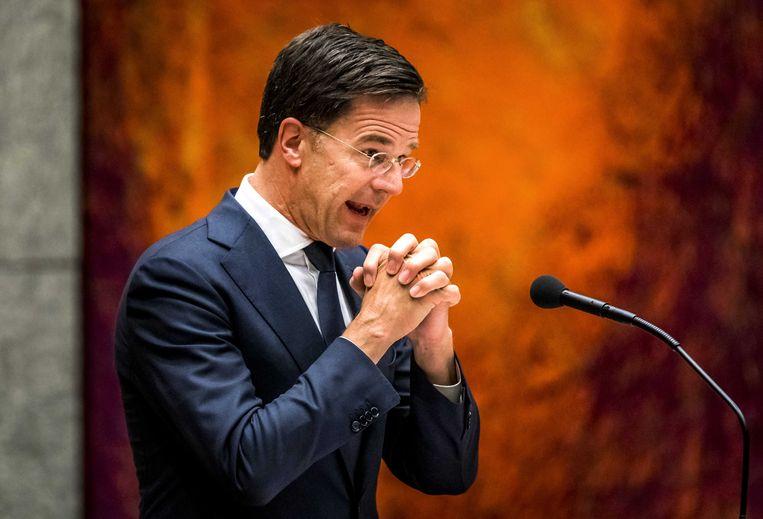 De Nederlandse premier Mark Rutte bij zijn toespraak waarin hij zich richt aan de inwoners van de provincie Groningen.