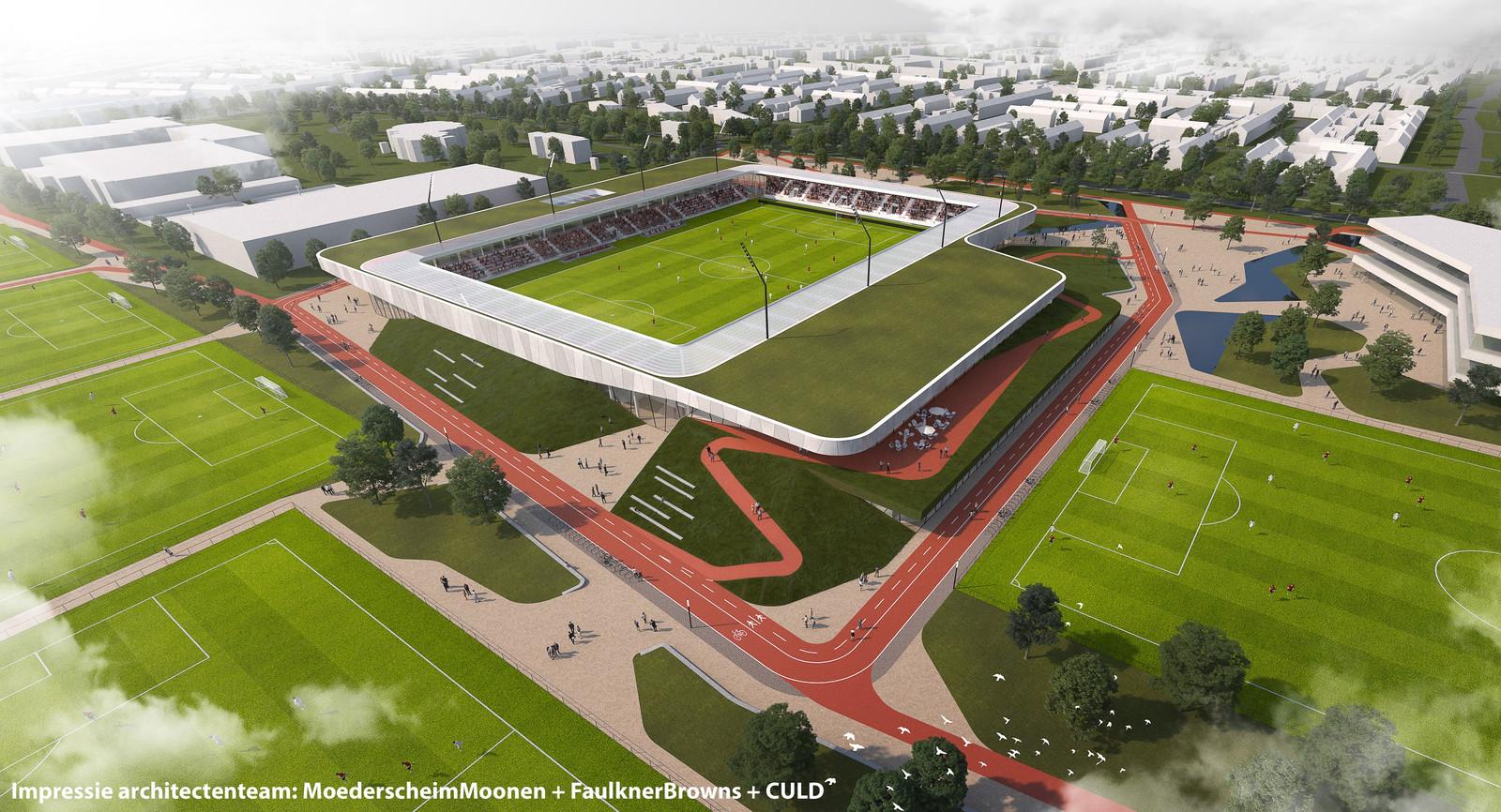 Impressie van de toekomstige Sport- en Beleefcampus De Braak in Helmond.