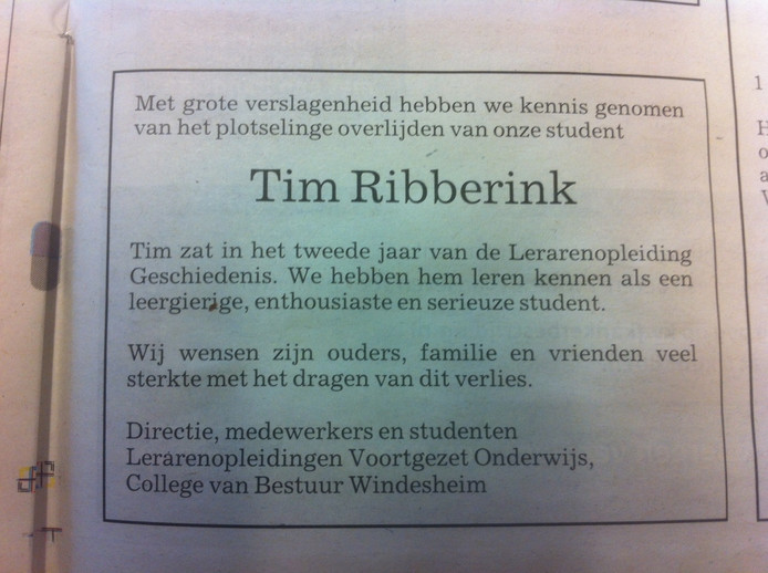 En de advertentie die Hogeschool Windesheim vandaag in de Stentor plaatste.
