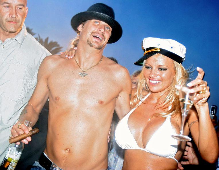Pamela Anderson en Kid Rock op de dag van hun huwelijk