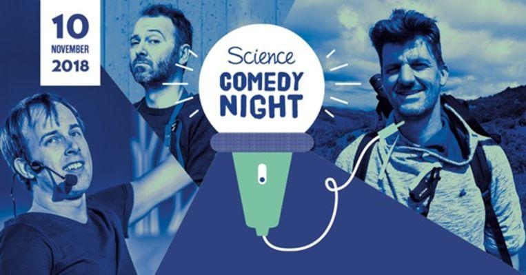 De affiche van de Science Comedy Night.