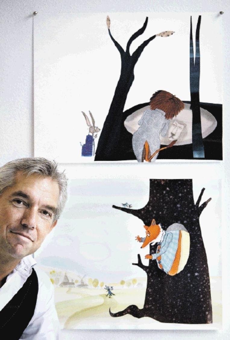 Kinderboekenillustrator Sieb Posthuma in zijn atelier. (FOTO WERRY CRONE, TROUW) Beeld