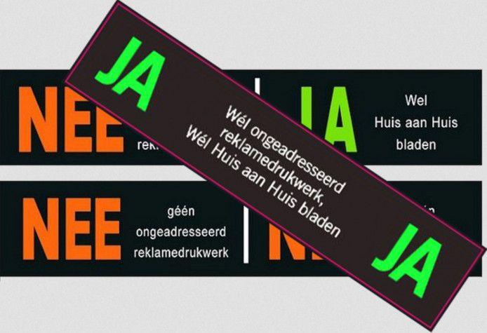 De ja/ja-sticker zou de nee/ja- en de nee/nee-sticker kunnen vervangen, maar een meerderheid van de Roosendaalse gemeenteraad ziet hier geen brood in.