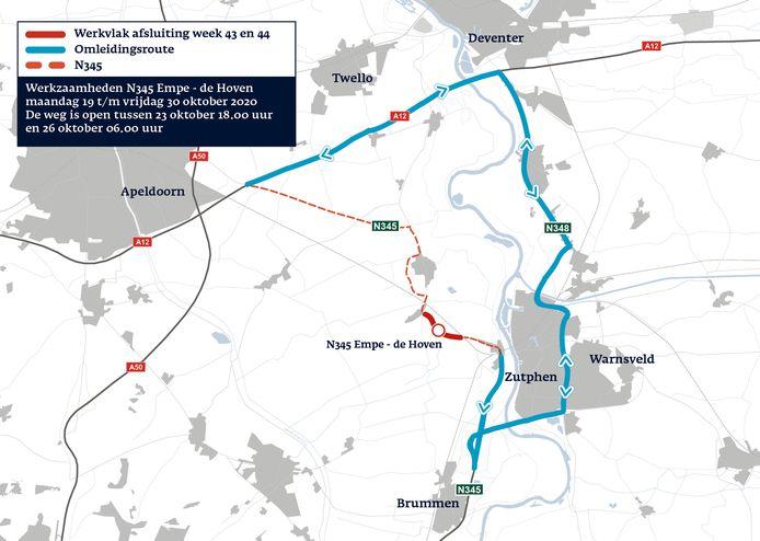 De omleidingsroute voor de N345 tussen 19 en oktober.