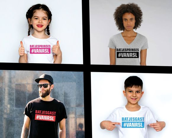 De verschillende versies van de #VANRSL-T-shirts