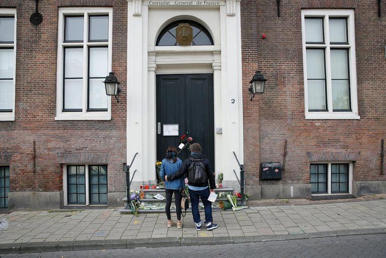 De ingang van het Franse consulaat aan de Vijzelgracht Beeld anp