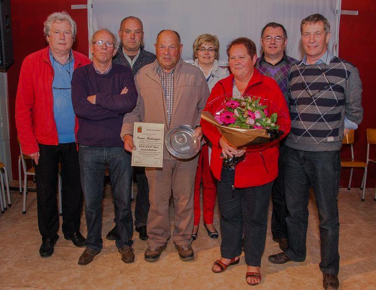 Frans Malengier werd in mei 2013 tijdens Koolzakommegang op Ter Hand in Geluwe gehuldigd door de organisatoren en de stad Wervik. Hij had toen de kaap van 100.000 kilometer overschreven.