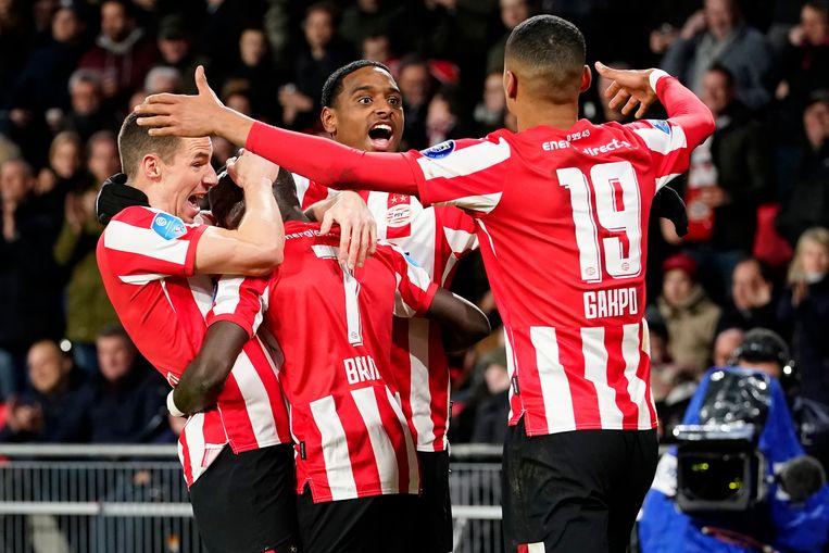 PSV-spelers vieren de 3-1. Beeld BSR Agency