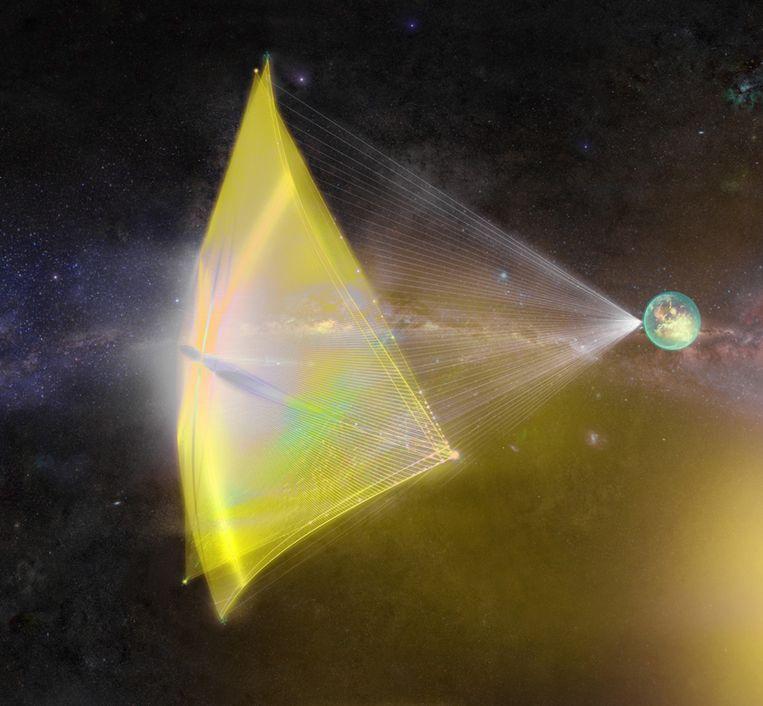 Een artist's impression van een StarChip, aangedreven door laserbundels vanaf de aarde. Beeld Breakthrough Starshot