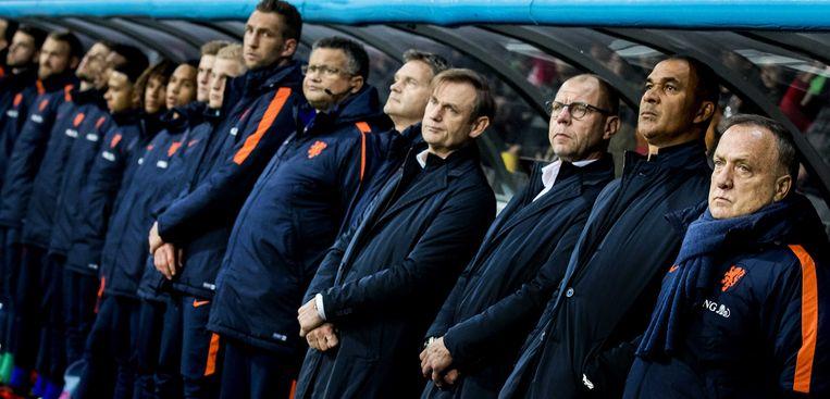 De bank van Oranje, voorafgaand aan het duel tegen Wit-Rusland, afgelopen zaterdag. Beeld ANP