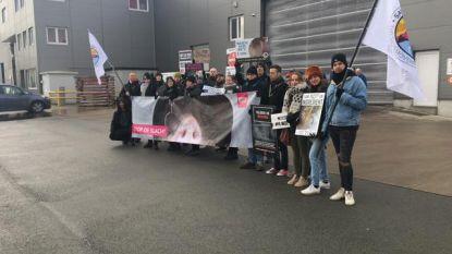 Activisten protesteren aan slachthuis Van Hoornweder