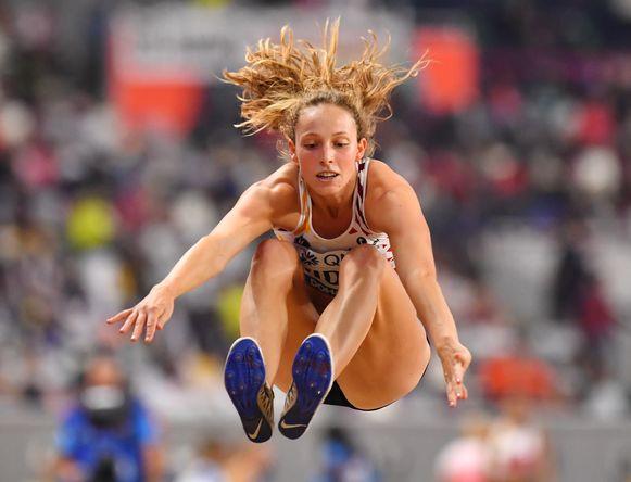 Athletics - World Athletics Championships - Doha 2019 - Women's Heptathlon Long Jump - Khalifa International Stadium, Doha, Qatar - October 3, 2019 Belgium's Noor Vidts in action REUTERS/Dylan Martinez