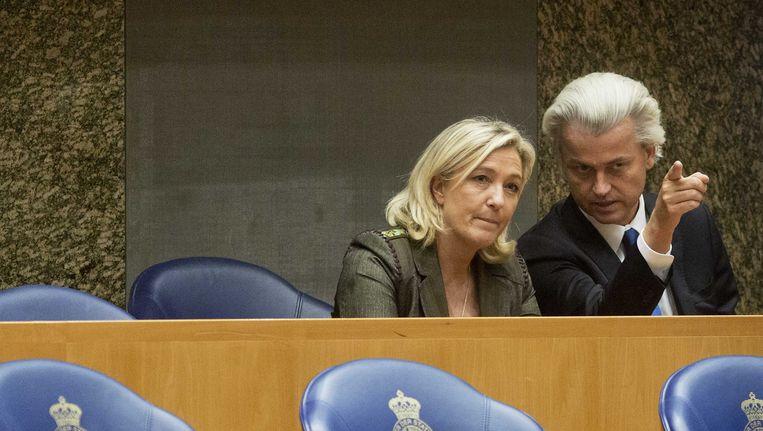 Wilders ontving in november vorig jaar Marine Le Pen van het Front National in Den Haag. Daar kondigden beide partijen hun voornemen tot samenwerking in Europa aan. Beeld null