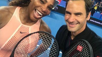 Clash der GOAT's tussen Roger Federer en Serena Williams in het voordeel van Zwitserland, waarna twee legendes een selfie pakken
