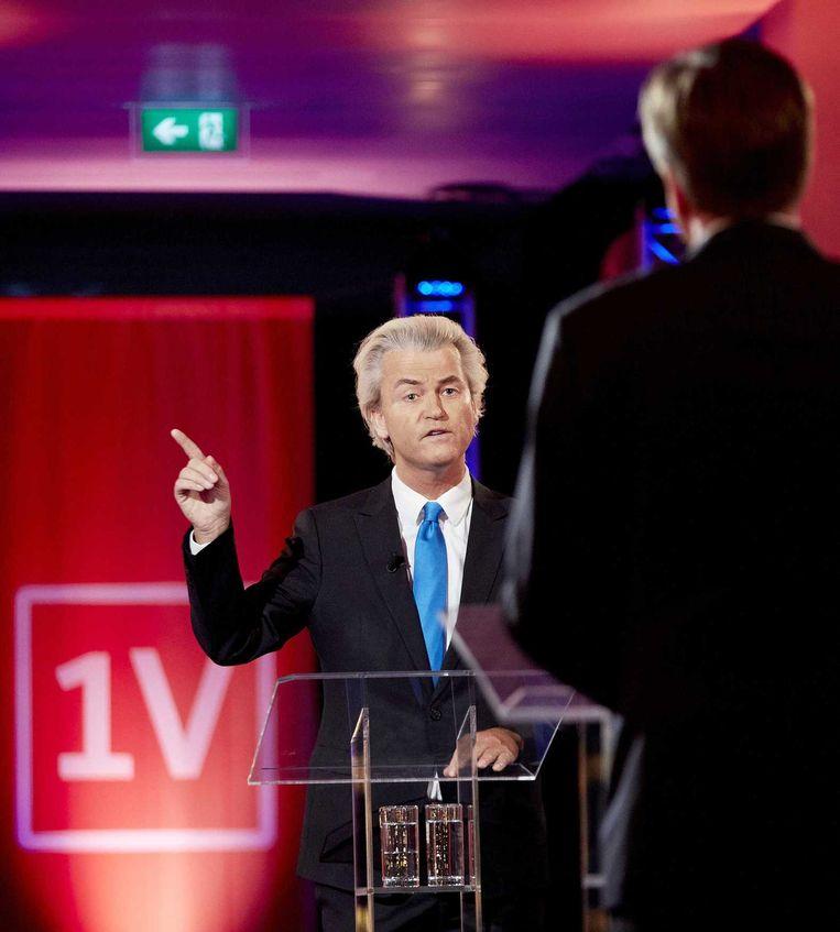 PVV-leider Wilders en D66-leider Pechtold bij EenVandaag gisteren. Beeld anp