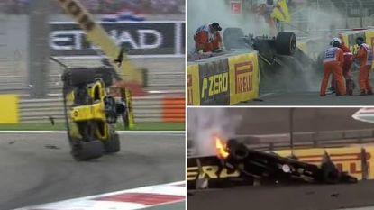 """Hulkenberg in paniek na beangstigende crash: """"Haal me hieruit, er is vuur en ik hang hier omhoog als een koe"""""""