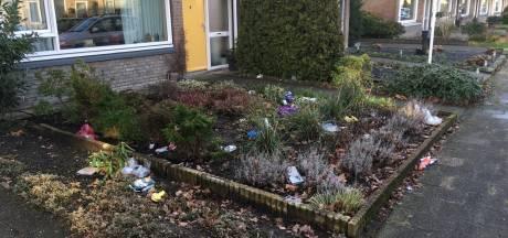 Wind houdt huis in Enschedese wijk: splinternieuwe afvalcontainers waaien om en tuinen liggen vol zooi