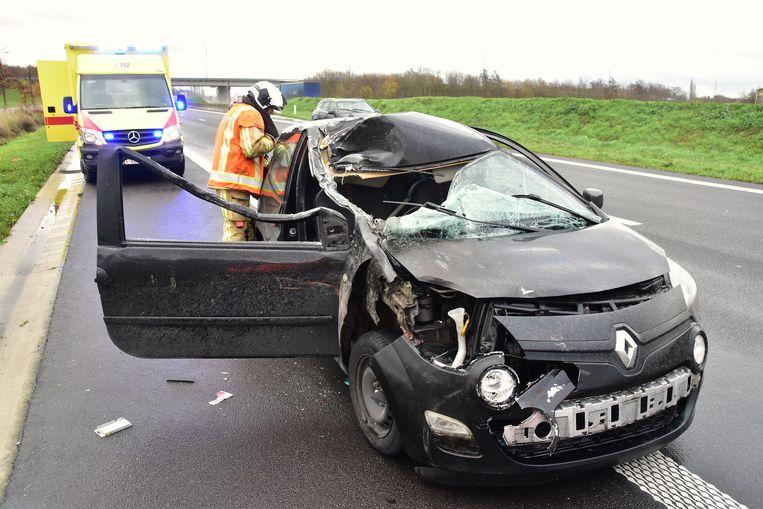 De Renault Clio van de Franse bestuurder is helemaal verloren.