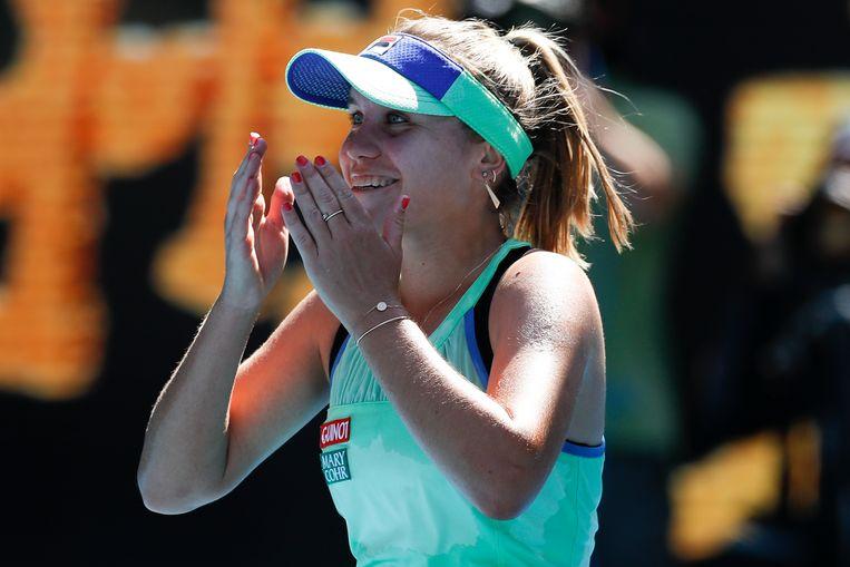 Sofia Kenin na haar winst in de halve finale tegen Ashleigh Barty. Beeld Getty Images