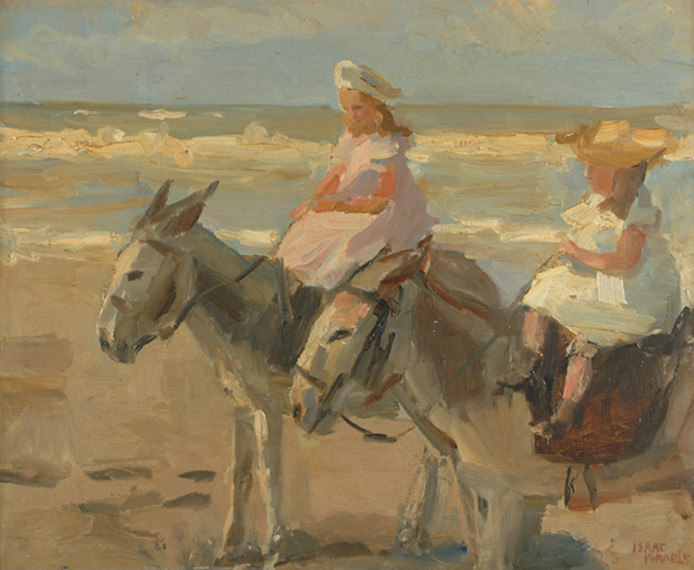 Ezeltje rijden op het Scheveningse strand, zoals vastgelegd door Isaac Israëls.