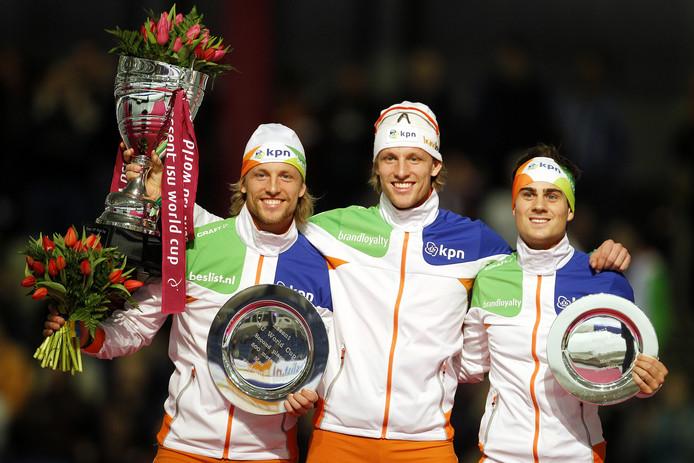 Ronald Mulder, Michel Mulder en Jan Smeekens bij de wereldbekerfinale in Thialf in maart 2014.