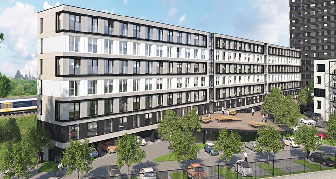 Artist impression van het wooncomplex aan de Gerbrandystraat in Utrecht.
