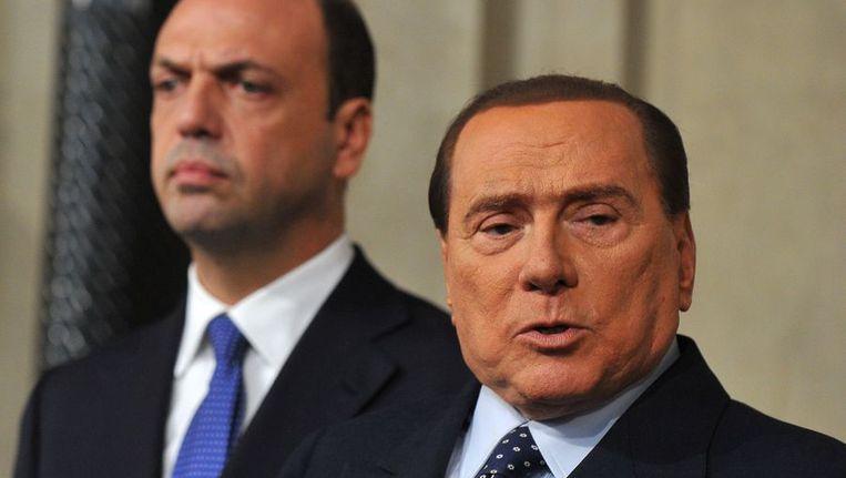 Berlusconi op een persconferentie Beeld afp