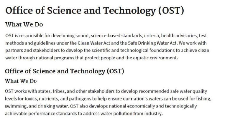 Boven de oude tekst, onder de nieuwe tekst Beeld Website EPA
